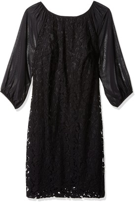Adrianna Papell Women's Size Sheer Sleeve Lace Dress Plus