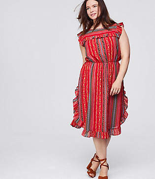 LOFT Plus Sirena Ruffle Dress