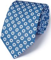 Charles Tyrwhitt Blue Linen English Luxury Spot Tie Size OSFA