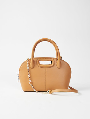 Maje Camel smooth leather rounded handbag