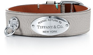 Tiffany & Co. Return to TiffanyTM wide leather bracelet in grey with sterling silver