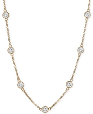 """Giani Bernini Cubic Zirconia Bezel-Set Necklace in 18k Gold-Plated Sterling Silver & Sterling Silver, 16"""" + 2"""" Extender, Created for Macy's"""