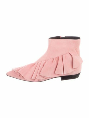 J.W.Anderson Suede Ruffle Embellishment Boots Pink Suede Ruffle Embellishment Boots