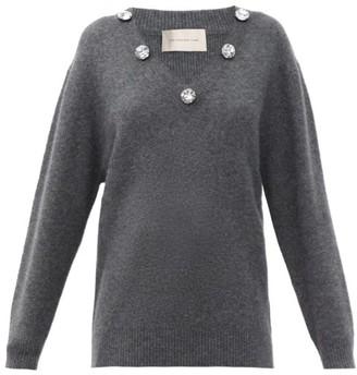 Christopher Kane Crystal-embellished V-neck Cashmere-blend Sweater - Dark Grey