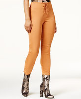 Material Girl Juniors' Lace-Up Satin Skinny Pants, Only at Macy's