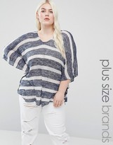 Koko Plus Knitted Top In Wide Stripe