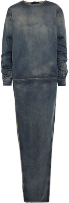 Rick Owens Gathered Faded Denim Maxi Dress