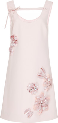 Prada Embroidered Crepe Cady Shift Dress
