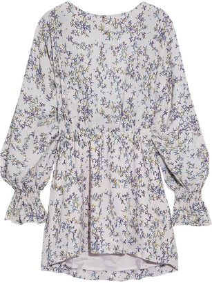 Baum und Pferdgarten Aemiley Open-back Floral-print Crepe De Chine Mini Dress