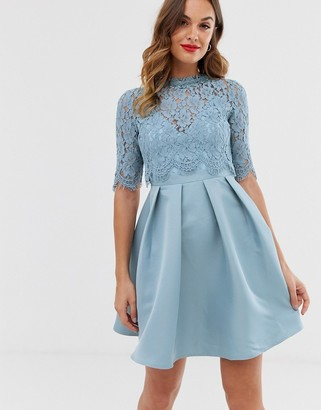 Little Mistress 3/4 sleeve skater dress with lace upper