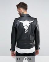 Reclaimed Vintage Leather Biker Jacket With Ram Skull Back Patch