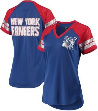 G Iii Women's G-III 4Her by Carl Banks Blue/Red New York Rangers Franchise Raglan V-Neck T-Shirt