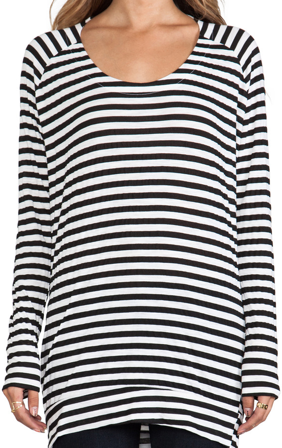 Michael Stars Soho Stripe Long Sleeve Drape Back Top