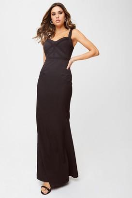 Little Mistress Hadley Black Lace-Trim Maxi Dress
