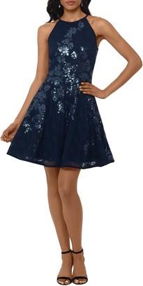 Xscape Evenings Floral Sequin Lace Skater Dress