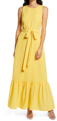 Charles Henry Sleeveless Belted Tiered Maxi Dress