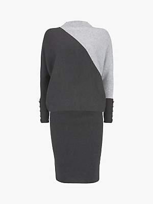 Mint Velvet Blocked Batwing Knit Midi Dress, Dark Grey