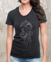 Etsy Jellyfish & Dive Helmet Women's Tri Blend T-Shirt - American Apparel - Available in S, M, L and XL