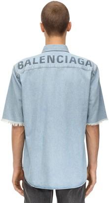 Balenciaga Printed Cotton Denim Shirt