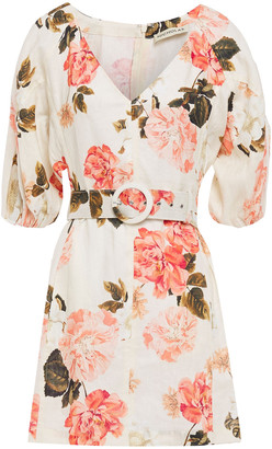 Nicholas Belted Zebra-print Linen Mini Dress