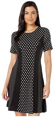 MICHAEL Michael Kors Mod Dot Combo Dress (Black/Bone) Women's Clothing