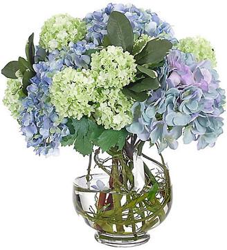 """16"""" Hydrangea Snowball in Vase - Faux - NDI - arrangement, blue; vessel, clear"""