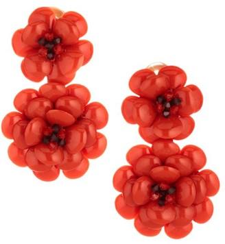 Oscar de la Renta Embellished Gardenia Floral Clip-On Drop Earrings