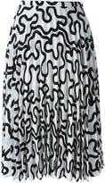 J.W.Anderson curvy line print pleated skirt