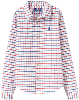 Joules Little Joule Boys' Atley Check Oxford Shirt, White/Red/Blue