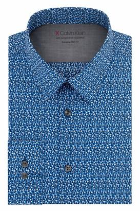 Calvin Klein Men's Dress Shirt Xtreme Slim Fit-Thermal Stretch Print