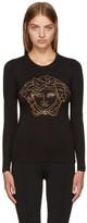 Versace Black Long Sleeve Studded Medusa T-Shirt