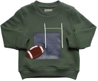 Il Gufo Rugby Print Cotton Sweatshirt W/ Patch