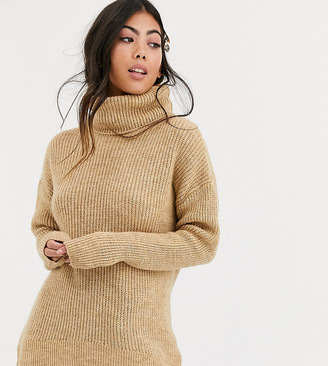 New Look Petite roll neck jumper in camel-Brown