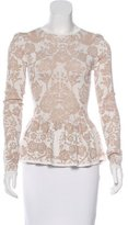 Torn By Ronny Kobo Jacquard Peplum Top