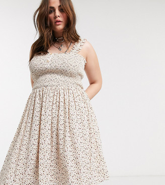 Only Curve skater dress with shirred detail in cream floral