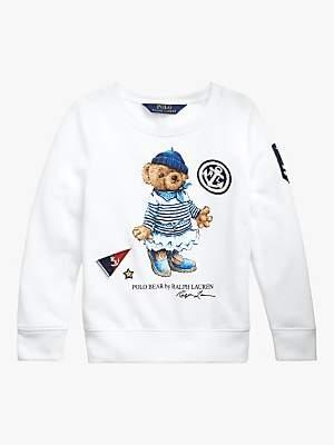 Ralph Lauren Polo Girls' Bear Sweatshirt, White