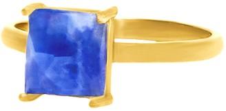 ADORNIA 14K Yellow Gold Vermeil Princess-Cut Blue Sapphire Solitaire Ring