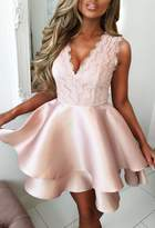 Pink Boutique Limited Edition Romantic At Heart Rose Gold Lace Top Double Satin Skater Mini Dress