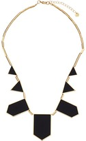 House Of Harlow Plated Five Station Black Leather Necklace