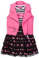 Betsey Johnson Striped Top & Flocked Tulle Bottom Dress & Moto Vest Set (Little Girls)