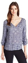 Velvet by Graham & Spencer Women's Casablanca Print Long Sleeve Blouse