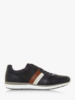 Dune Token Leather Stripe Lace Up Trainers