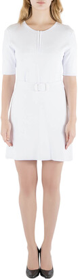 Carven White Rib Knit Belted Short Sleeve Skater Dress L