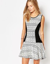 Greylin Printed Skater Dress with Contrast Panels