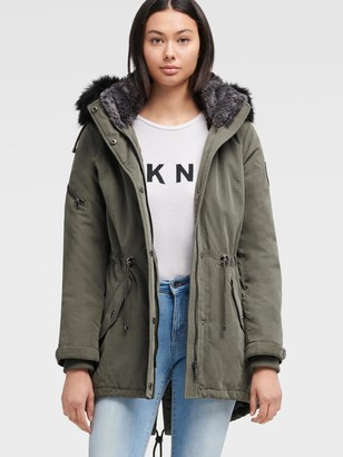 DKNY Women's Fur Trimmed Hooded Parka - Olive - Size S