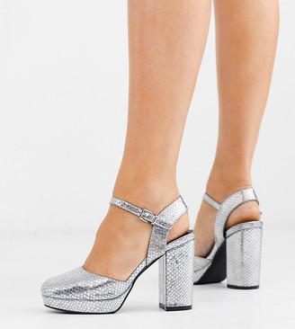 Simply Be Extra Wide Fit Simply Be extra wide fit keyla closed toe platform in silver