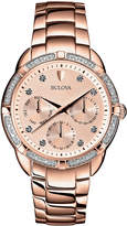 Bulova 36mm Diamond Chronograph Bracelet Watch, Rose Golden