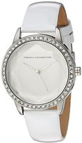 French Connection Women's Quartz Watch with White Dial Analogue Display and White Leather Strap FC1215W