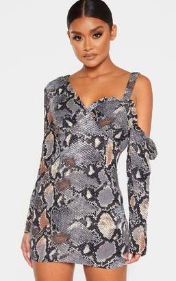 PrettyLittleThing Grey Snake Print Woven One Shoulder Frill Trim Bodycon Dress