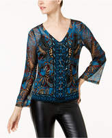 INC International Concepts Petite Lace-Up Mesh Top, Created for Macy's